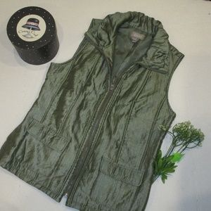 Chico's Vest Iridescent Green Size 1/Medium Fall